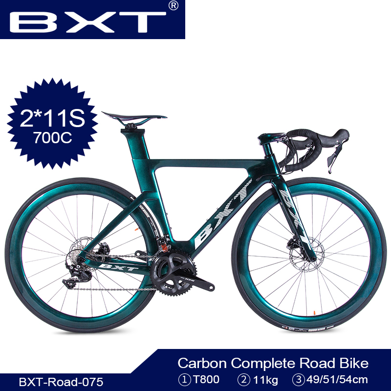 BXT Road Bike 700C Carbon Road Bike Bicycle Road 2*11Speed Bike Racing Dual Disc Brakes T800 Carbon Frame+fork Free Shipping