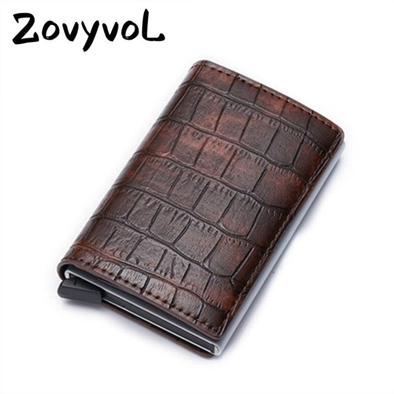 ZOVYVOL Aluminum Single Box ID Bank Credit Card Holder Leather Mini RFID Wallets For Men Women Vintage Crocodile Pattern