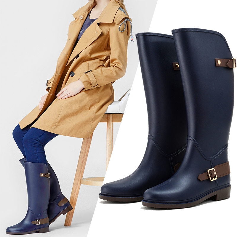Shoes Woman Boots Women Rain Boots Women Waterproof Knee-High Tall Riding Boots Ladies Wellies with Buckles