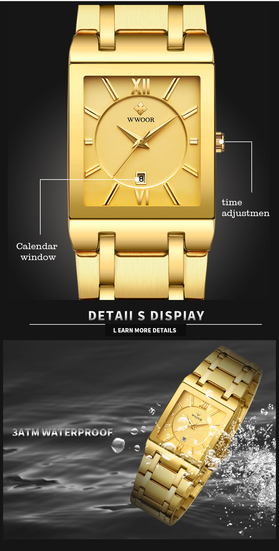 Gold Watch Men Square Stainless Steel  -  1mrk.com
