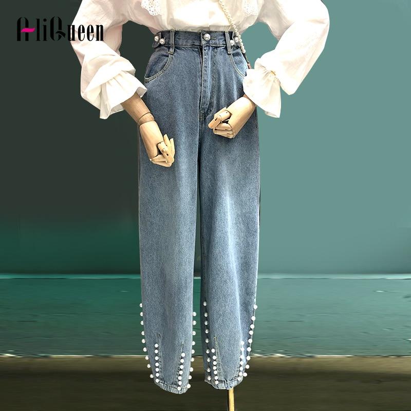 2020 Korean Women Vintage Pearls Beading Long Jeans Pant Autumn Summer Elastic Waist Wide Leg Denim Pants Trousers Womens Jeans