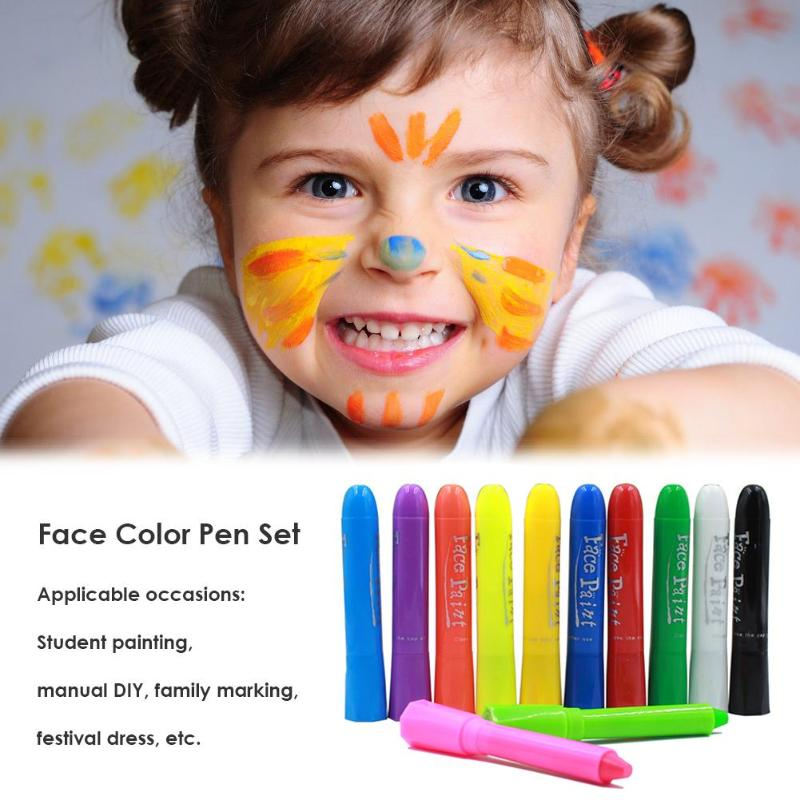 12 Color Body Painting Pastel Pen Facial Crayons Halloween Party Makeup Kid Gift Creating Cheerful Beautiful Atmosphere