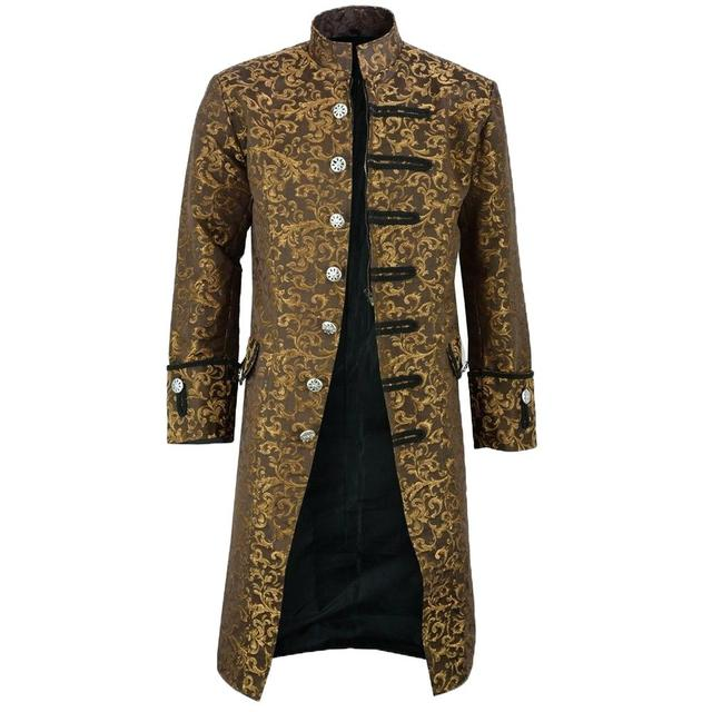 New Men's Vintage Tailcoat Jacket Gothic Steampunk Long Sleeve Jacket Victorian Dress Jacket Halloween Casual Button Clothing
