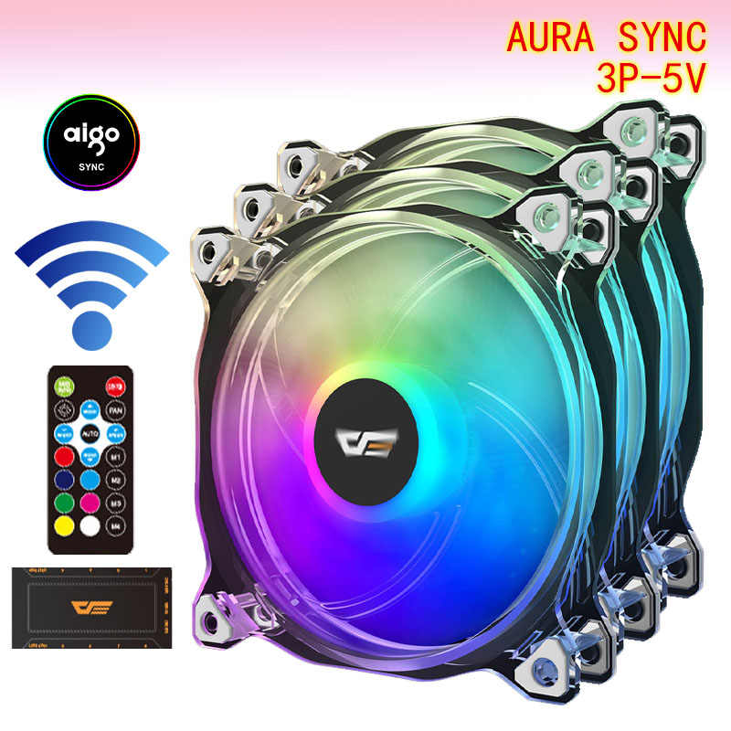 Aigo Darkflash CF8 Pro Computer Pc Fan Rgb Clear Frame 120 Mm Fans Rustig + Remote Computer Cooling Koeler Aura sync Cpu Koeler Fan