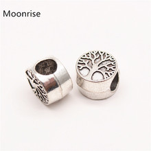 10 Pcs Life tree Beads Silver Plated Alloy DIY Big Hole Metal Spacer Bead Charm Fit For European Charms Bracelet