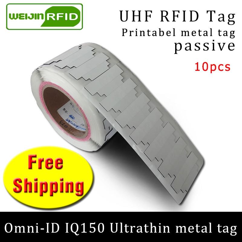 UHF RFID Ultrathin Anti Metal Tag Omni-ID IQ150 915m 868mhz Impinj MR6 10pcs Free Shipping Printable Small Passive RFID Tag