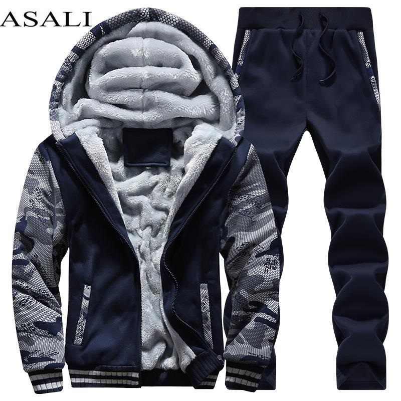 Мужской спортивный костюм, флисовая плотная брендовая одежда с капюшоном, повседневный спортивный костюм, мужская куртка + штаны, теплая зимняя толстовка с мехом внутри