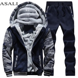 Tracksuit Men Sporting Fleece Thick Hooded Brand-Clothing Casual Track Suit Men JacketPant Warm Fur Inside Winter Sweatshirt