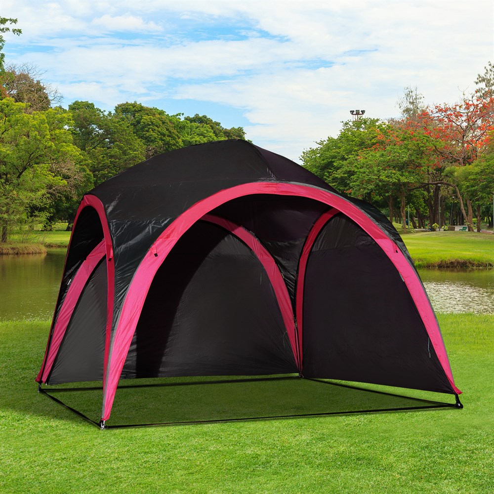 Outsunny Tent Waterproof UV For 6 People beach Camping polyester 330x330x255 cm black and - 2