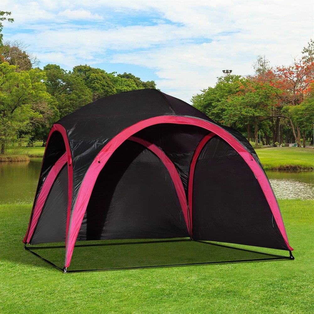 Outsunny Zelt Wasserdicht UV Für 6 Menschen strand Camping polyester 330x330x255 cm schwarz und - 2