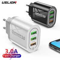 USLION-cargador USB de carga rápida para iPhone, Samsung, y Huawei Xiaomi, 3 puertos, 3,0, QC3.0