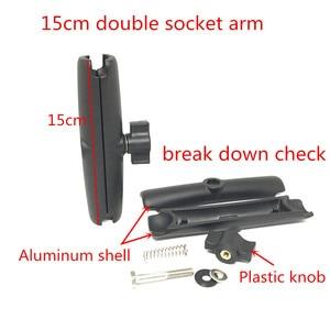 Image 2 - Jadkinsta Base de boule en aluminium Combo Double douille bras socle de montage carré avec ampères modèle de trou pour Garmin pour TomTom GPS