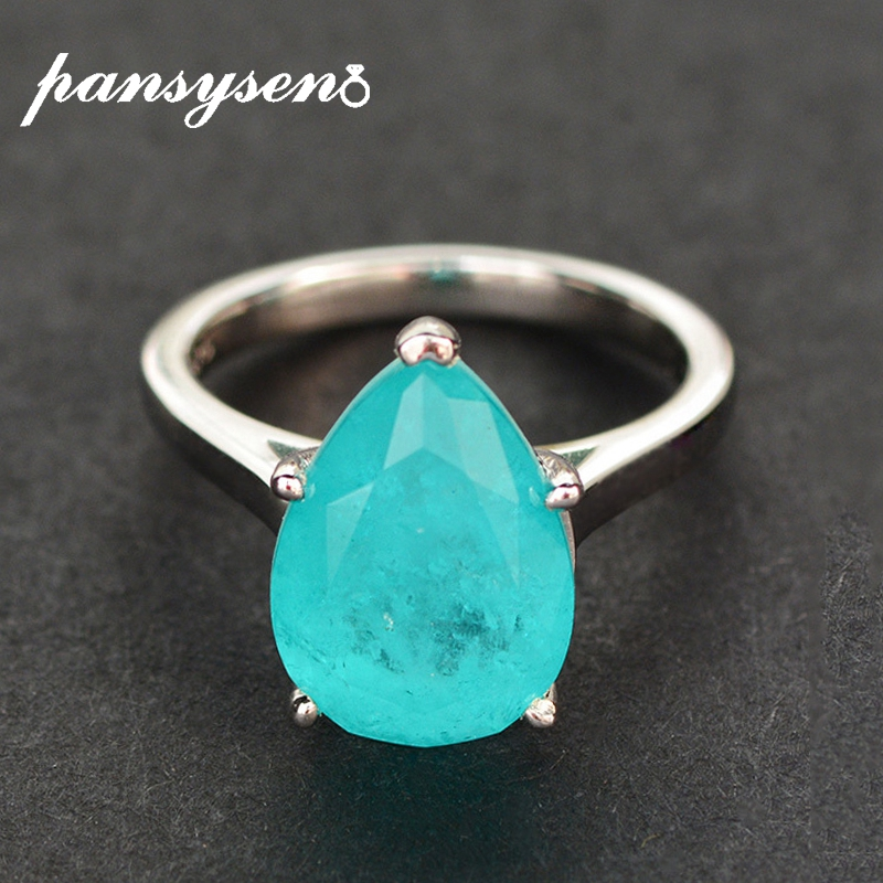 PANSYSEN Solid 925 Sterling Silver Pear Cut 10x14MM Paraiba Tourmaline Gemstone Wedding Engagement Rings Women Fine Jewelry Ring
