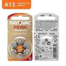 60 baterias do aparelho auditivo do elevado desempenho do pico de rayovac dos pces. Bateria do ar 13/p13/pr48 do zinco para próteses auditivas de bte. Frete Grátis!