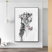 Modern Floral Women Canvas Paintings Fashion Model Butterfly Posters Prints Wall Art Pictures for Bedroom Home Decoration dazzle butterfly prints diamond paintings
