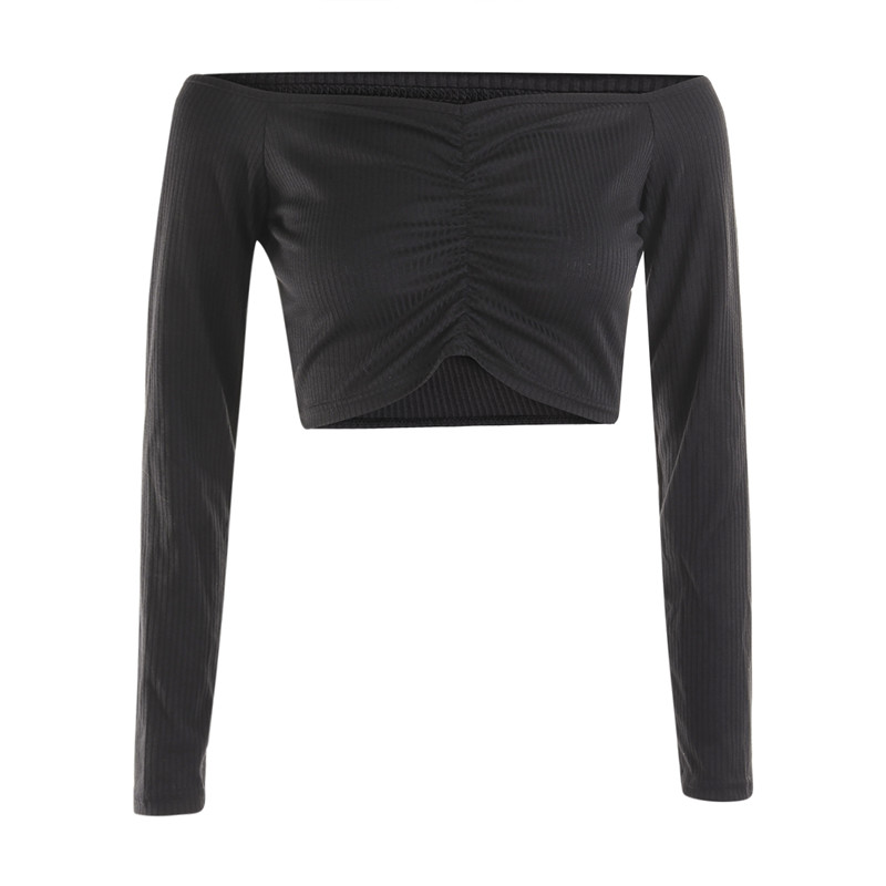 Women's Long Sleeve T shirt Summer Fashion Casual Sexy Off Shoulder Solid Color Umbilical Exposure Sexy Tops
