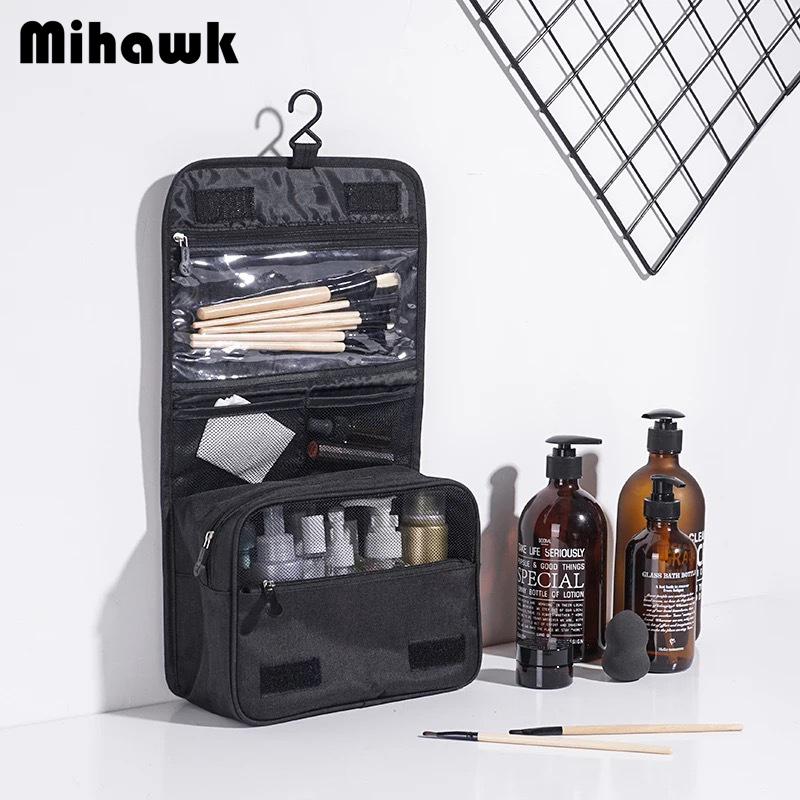 Mihawk Travel Portable Hanging Toiletry Storage Bags Women Foldable Cosmetic Makeup Zipper Organizer Pouch Suitcase Tote Supply
