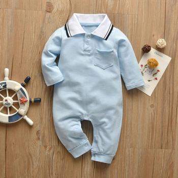 Chłopięce pajacyki jednokolorowe w stylu dżentelmena bawełniany kombinezon z długim rękawem noworodek ubrania piżamy jesienne ubrania dla niemowląt tanie i dobre opinie Derouetkia COTTON CN (pochodzenie) Mężczyzna W wieku 0-6m 7-12m 13-24m Stałe baby O-neck Swetry Pełna No model Pasuje prawda na wymiar weź swój normalny rozmiar