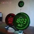 3d creativo Circular grande LED Digital Reloj de pared de diseño moderno decoración del hogar grande decorativo redondo reloj de escritorio rojo verde