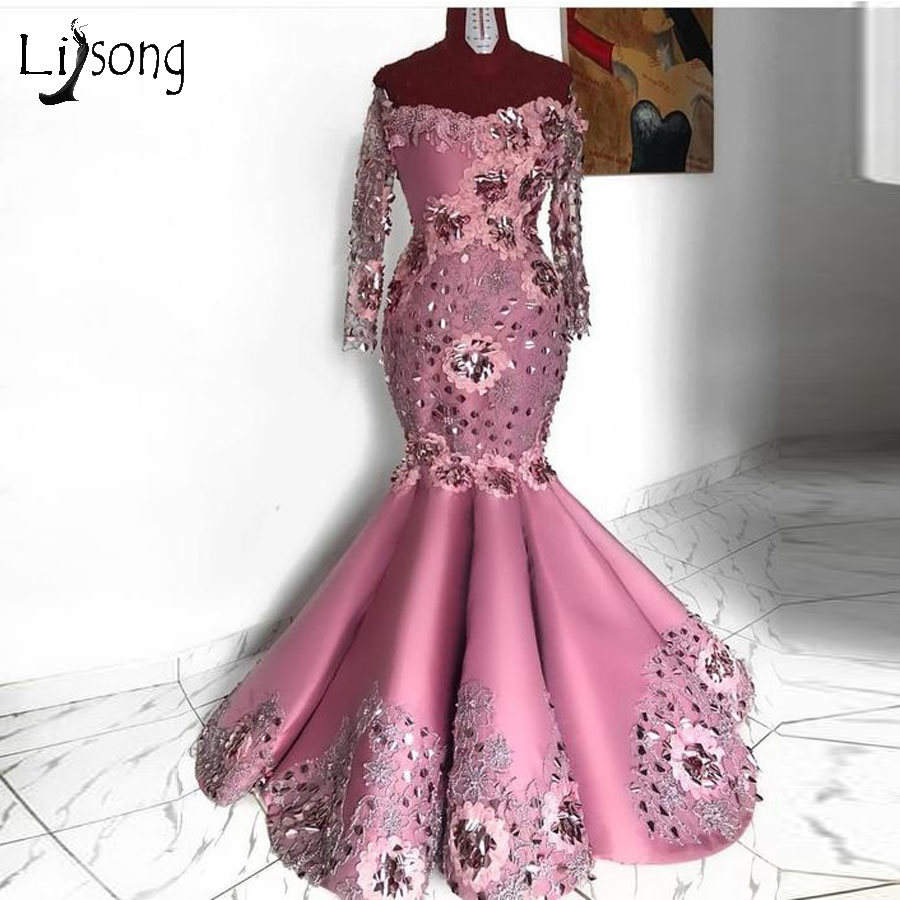 Elegant Aso Ebi 3D Flower Mermaid Evening Dresses 2019 Full Sleeves Off The Shoulder Lace African Evening Gowns