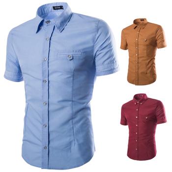 Dropshipping koszula męska 2020 moda lato z krótkim rękawem koszule na co dzień Slim Fit biuro biała koszula Solid Color Camisa Masculina tanie i dobre opinie WSGYJ POLIESTER KOSZULE CODZIENNE krótkie Wykładany kołnierzyk Jednorzędowe REGULAR M-XXL Sukno Stałe men shirt m l xl 2xl 3xl