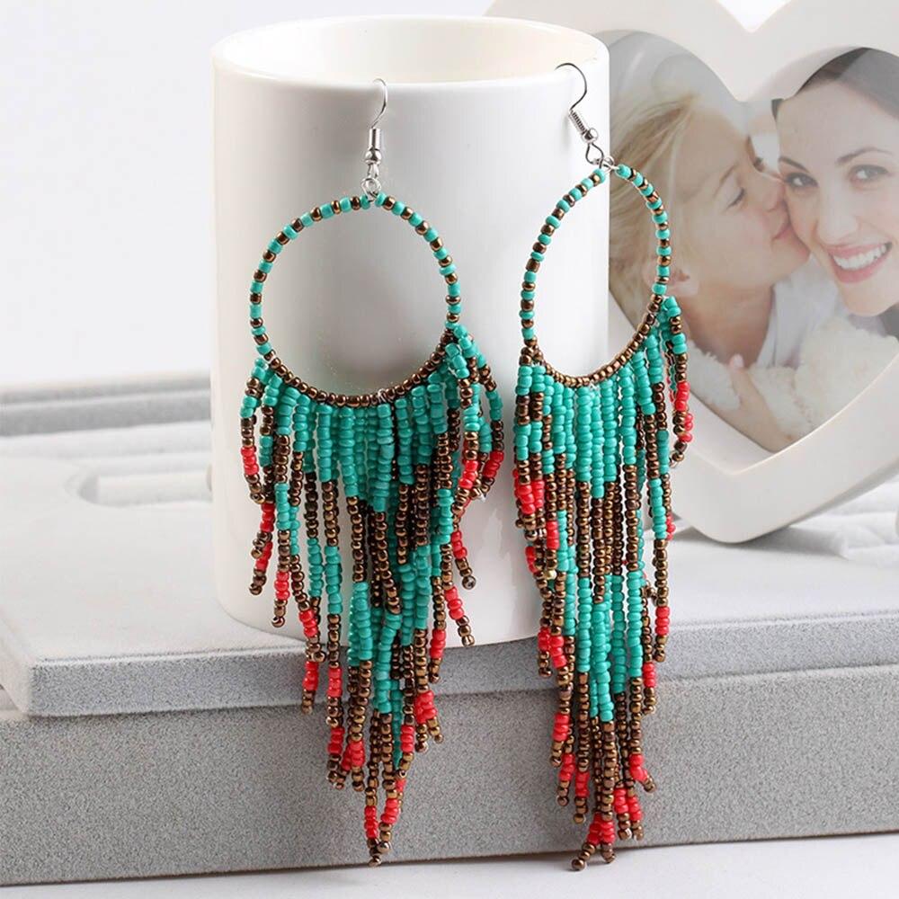 Fashion femmes Bohême Perles Tassel Boho Ear Hook Drop Dangle Boucles d/'oreilles Bijoux
