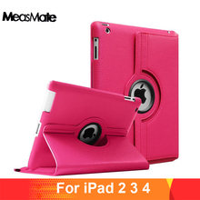 360 Degrees Rotating PU Leather Flip Cover Case for iPad 2 3 4 Case Stand Cases Smart Tablet A1395 A1396 A1416 A1430 A1458 A1460(China)