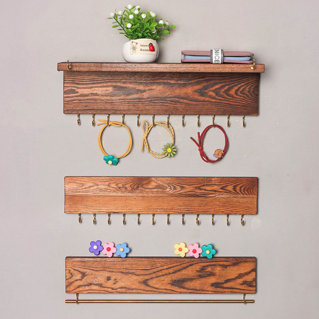 3Pcs Wall Mounted Jewelry Organizer, Rustic Wood Rack For Earring, Bracelet And Necklace Holder - Jewelry Hanger Rack Set