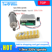 0.5kw Air cooled spindle ER11 chuck CNC 500W Spindle Motor + 52mm clamps + Power Supply speed governor For CNC Engraving