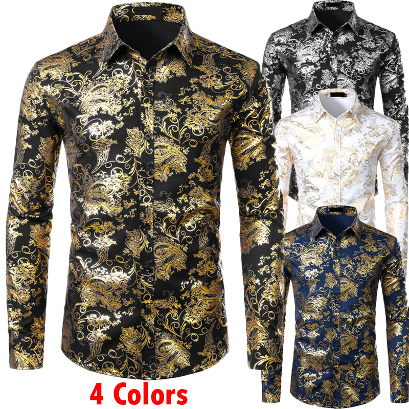 Mens Gold Floral Shirts Shiny Slim Fit Bronzing Shirt Men Wedding Club Stage Prom Shirt Male Chemise Homme Camisas Masculina XXL