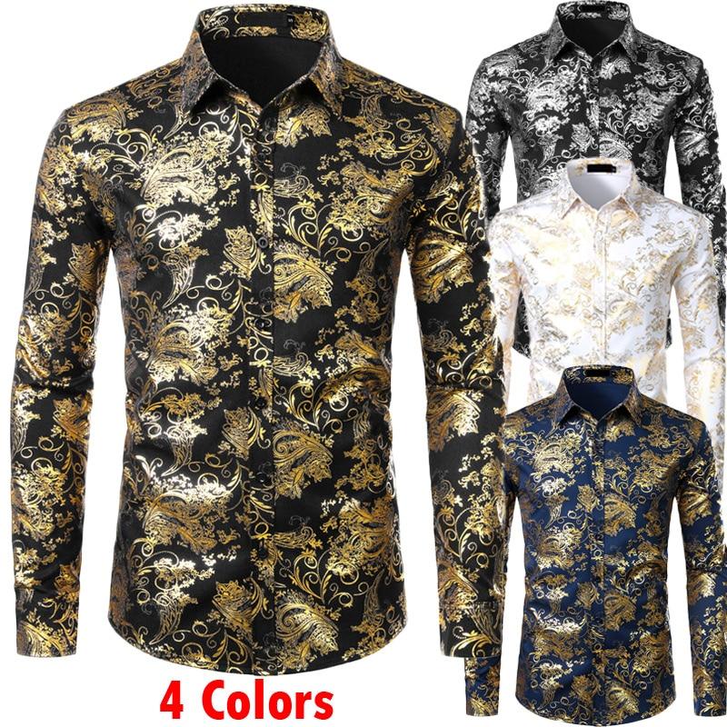 Mens Gold Floral Shirts Shiny Slim Fit Bronzing Shirt Men Wedding Club Stage Prom Shirt Male Chemise Homme Camisas Masculina XXL