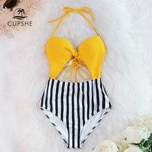 CUPSHE sarı ve şerit dantel Up tek parça mayo seksi Cut out Halter kadınlar Monokini 2020 kız plaj mayo mayo