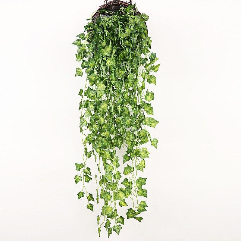 90cm מלאכותי ירוק צמחי קיסוס תלייה עלים צנון אצות ענבים מזויף פרחי גפן בית גן קיר מסיבת קישוט