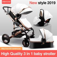 2020 Brazil high landscape baby stroller baby can sit and lie 3 in 1 stroller two way folding trolley a parcel with car seat