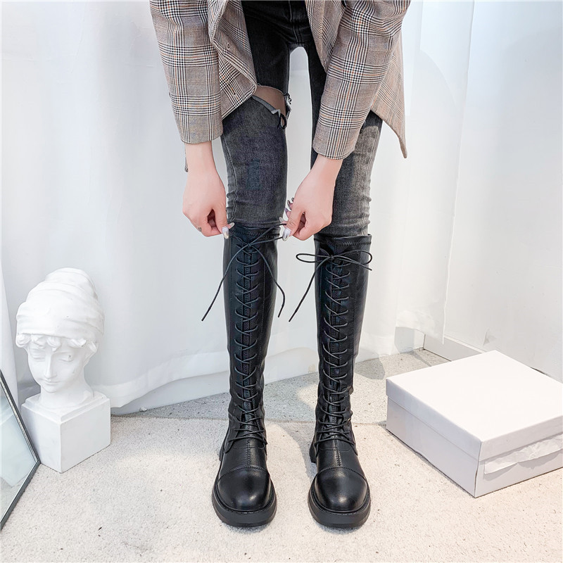 GOOHOJIO 2020 Retro Thick Knee-high Knight Boots Women Shoes Fashion Lace-up Leather Shoes Women Autumn Square Heel Boots Woman