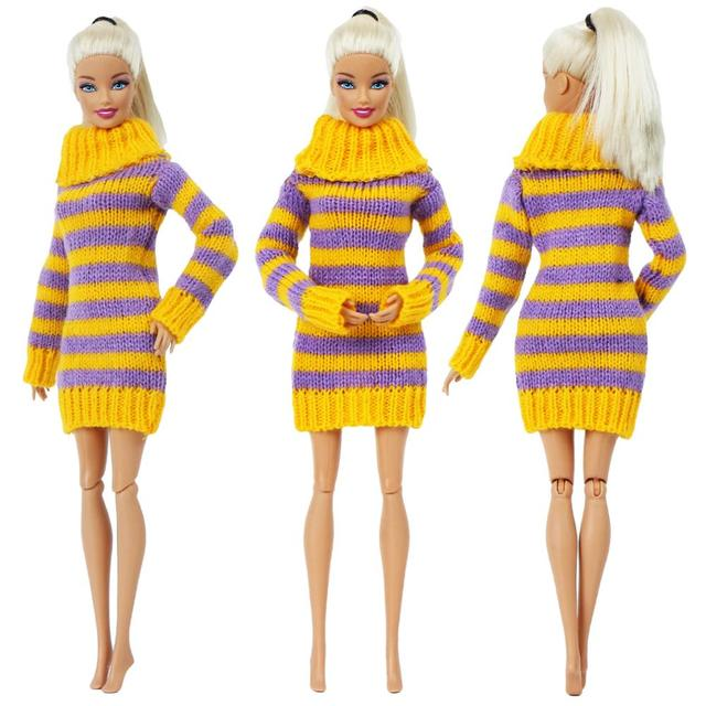 1 PCS Fatti A Mano Abito di Moda Abito Corto Cute Cartoon Modello T-Shirt Leggings Pantaloni Accessori Vestiti per la Bambola di Barbie Giocattolo 5