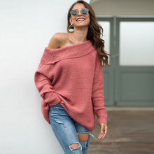 2019 autumn and winter women sweater solid color word collar wide pine