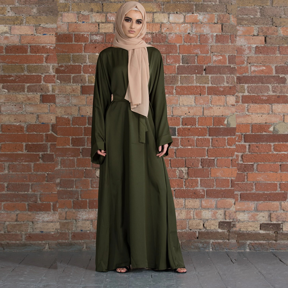 Muslim Fashion Dresses Islamic Women's Clothing Middle East Turky Solid Color Plus Size Long Dress Muslim Casual Arabic Dress 1