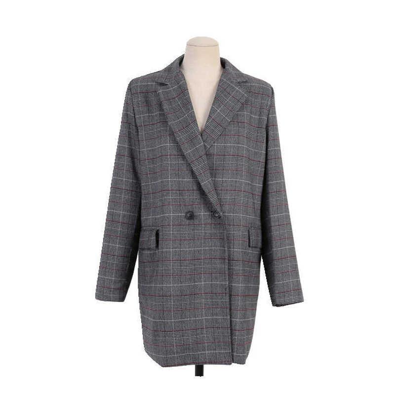 気質女性のジャケット大サイズ高品質 2019 新長期ダブルブレスト女性のブレザー女性赤タータンチェック秋のスーツ