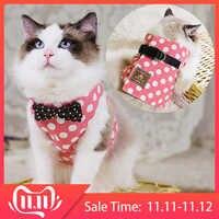 RFWCAK Pet Cat Dog Harness Safety Walking Cat Collar Leash Pet Traction Elegant British Style Cute Jacket Leash