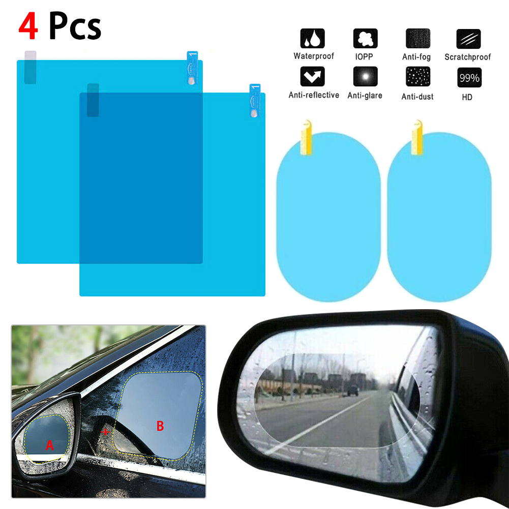 2Pcs/4 Pcs Car Mirror Window Clear Film Anti Fog Car Rearview Mirror Protective Film Waterproof Car Multiple Functions Sticker