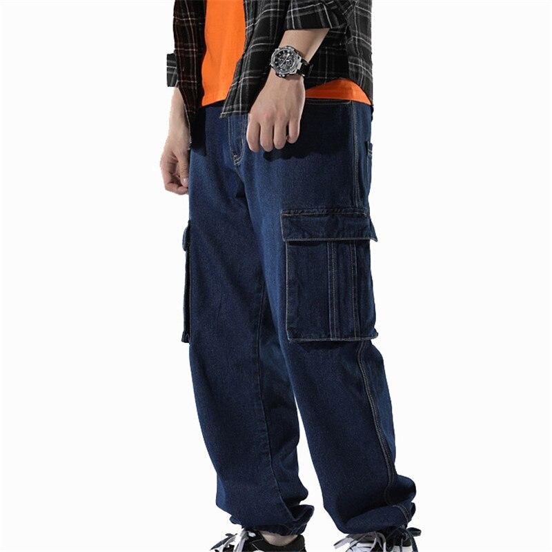 Idopy Fashion Men`s Biker Jeans Heavy Duty Multi Pockets Japanese Style Loose Fit Plus Size Cuffed Cargo Denim Pants For Hipster