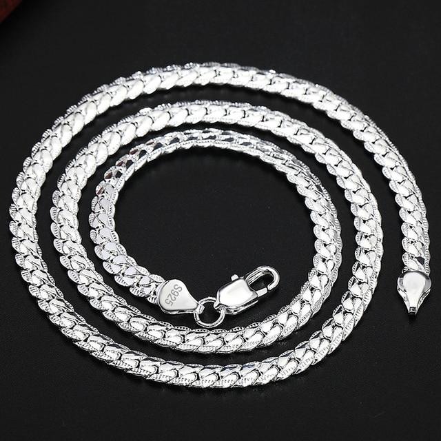 2 Piece 6MM Full Sideways 925 Sterling Silver Necklace Bracelet Fashion Jewelry For Women Men Link Chain Sets Wedding Gift 3