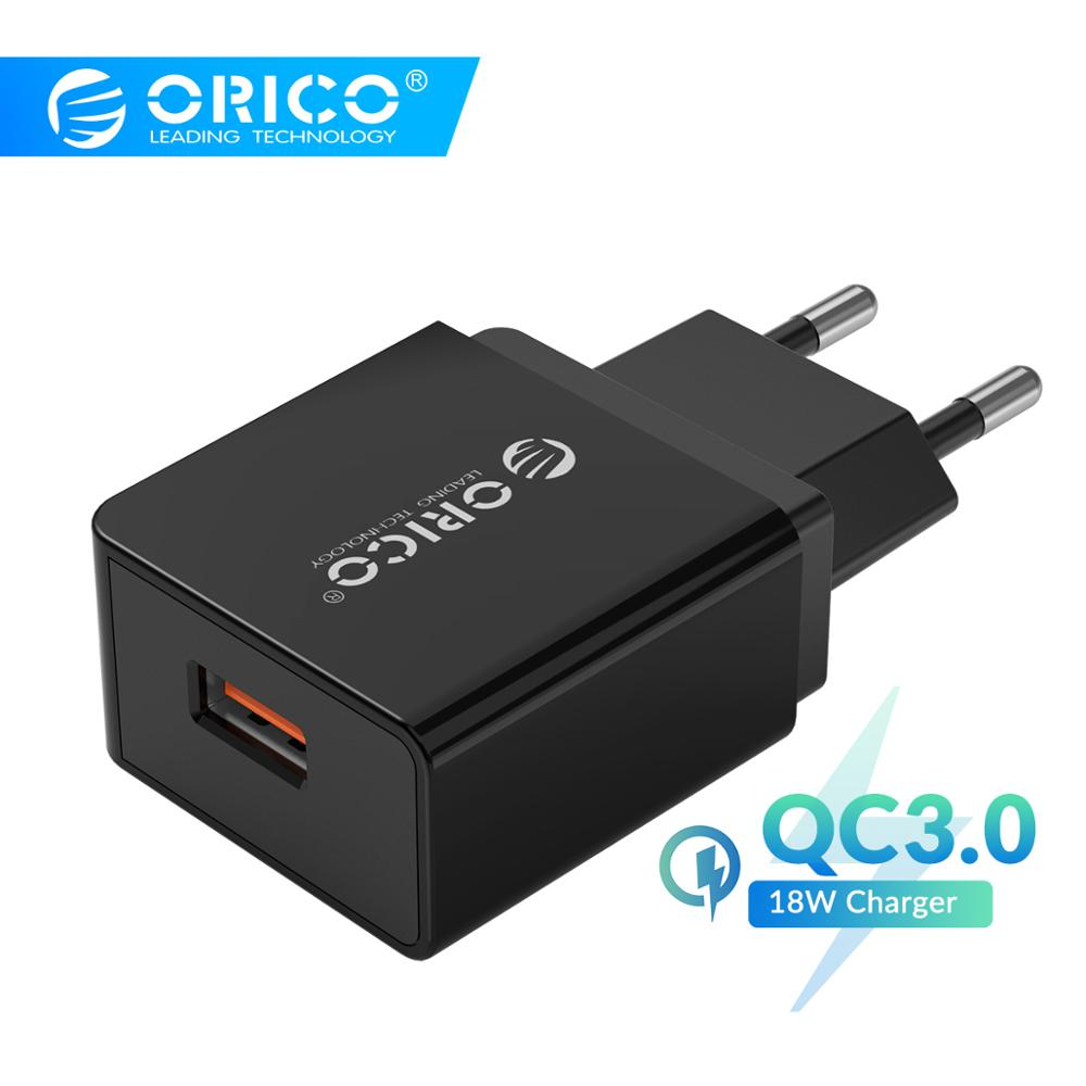 ORICO QC3.0 USB Charger 18W QC3.0 USB Charger EU Plug for Xiaomi iPhone Samsung Huawei Phone Charger