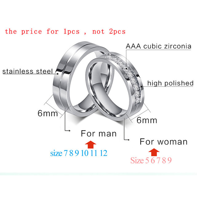 Bling Cubic Zirconia Wedding Band Rings Free Engraving Record Name Date Love Info Stainless Steel Custom Jewelry 3