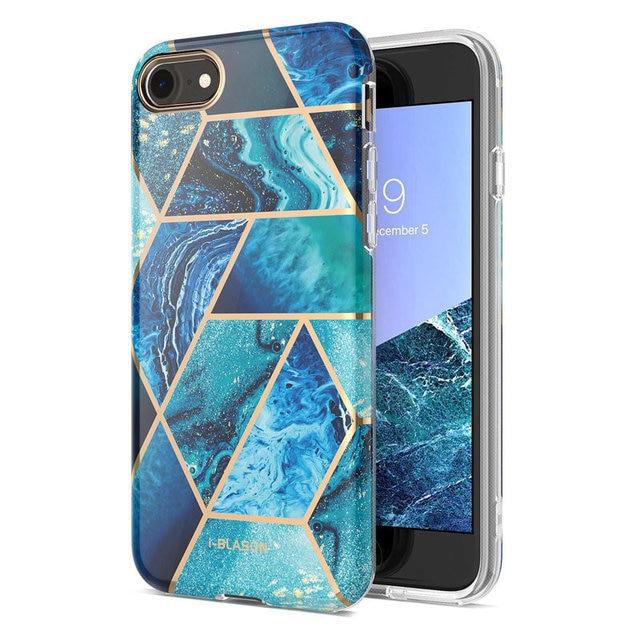 Женский чехол для iphone 7 8, чехол для iPhone SE 2020, стильный Гибридный Премиум Защитный Тонкий бампер Cosmo Lite, Мраморная задняя крышка