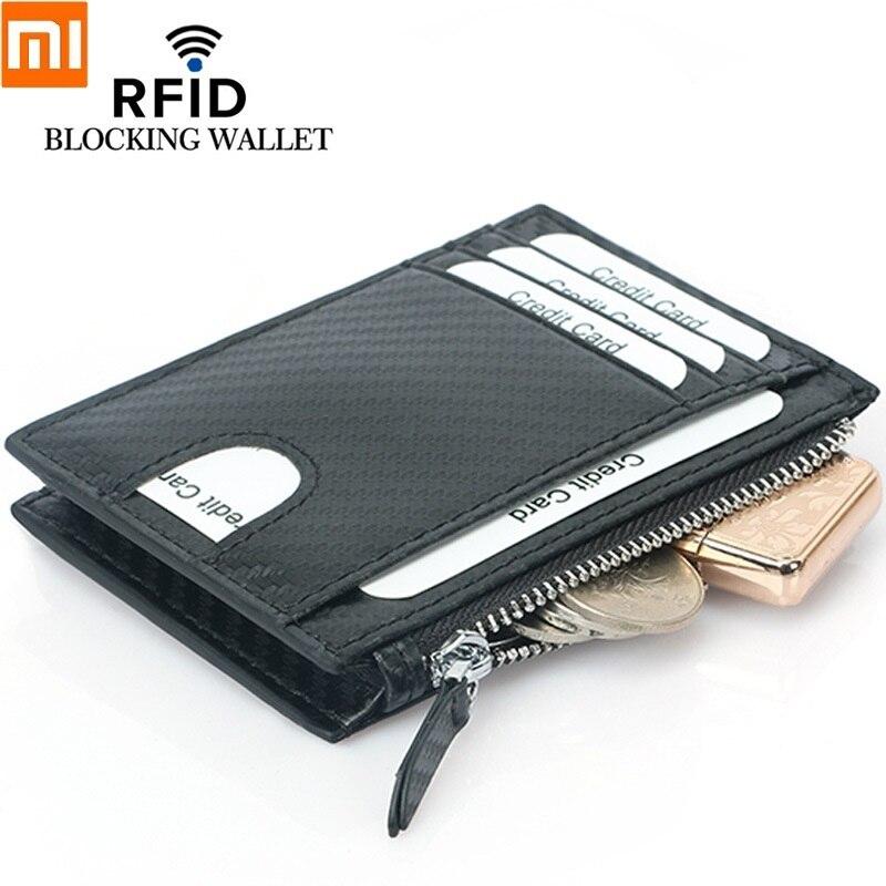 Xiaomi moda cüzdan fermuar bozuk para cüzdanı RFID karbon Fiber kredi kartı kılıfı İlk katman sığır derisi kart tutucu çoklu kart yuvası