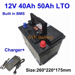 12V LTO 40Ah 50Ah lithium titanate Battery Pack for EV light truck bicycle giant hybrid Lawn mower motor + 5A charger