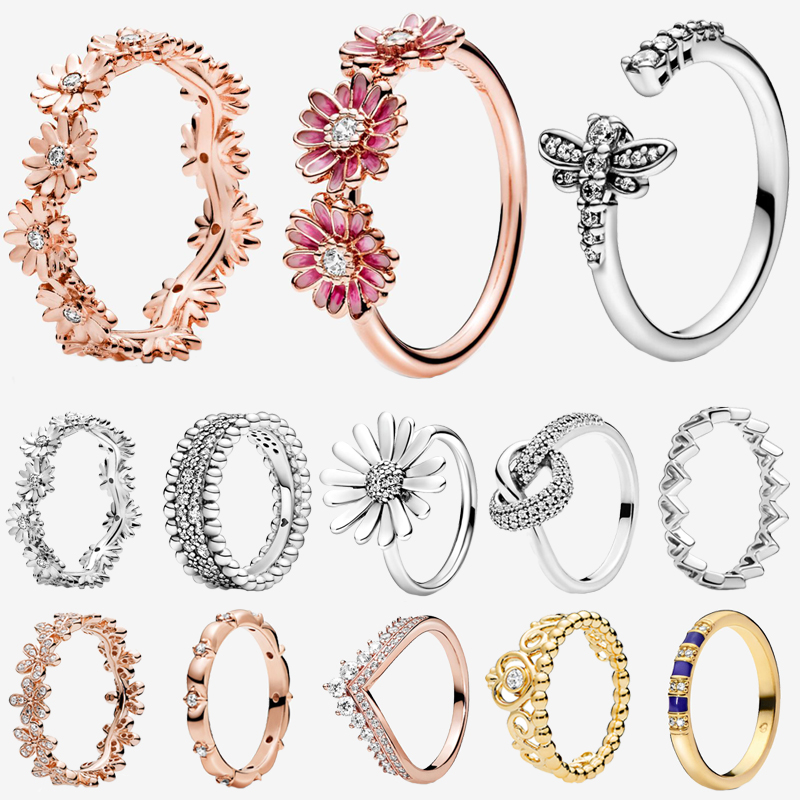 2020 New Series 925 Sterling Silver 50 Types Sparkling Daisy Flower Crown Rings  For Women Engagement Jewelry Anniversary