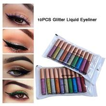 HANDAIYAN 10Pcs/set  Colorful Shimmer Eyeliner Makeup Cosmetics Shining Glitter Liquid Eyeliner Long Lasting Pencils